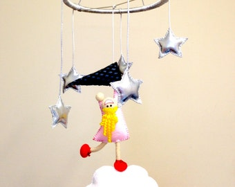 Mobile Wall Hanging Baby Nursery  Little Girl on a cloud catching stars Silver Linings Girls room decor #make for good