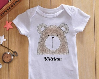 Personalized baby bodysuit, personalized baby gift, personalized onesie, unique baby gift, baby bear, baby clothes, baby name, custom onesie