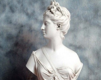 DIANA - A marble bust, after sculptor Jean-Antoine Houdon.