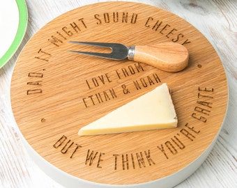 We think you're Grate! Fathers Day Cheese Board Personalised Funny Fathers Day gift for dad Personalize father's day gifts for dad