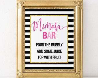 Black White Stripes Mimosa Bar - Bridal Shower, Baby Shower, New Years Eve, and Birthday Printable Sign