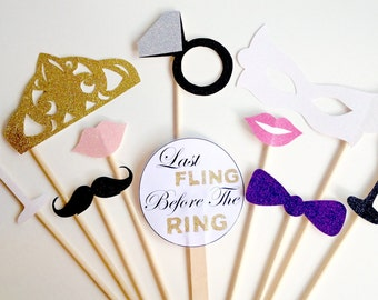 10-Piece Hen Party Photo Booth Prop Set- Bachelorette, Wedding, Hen Glitter Photo Booth Props - Last Fling Before the Ring