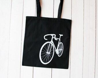 """Stoffbeutel """"Fahrrad"""", Siebdruck weiß auf schwarz"""
