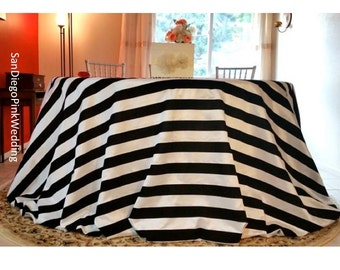 Black and White, Striped tablecloth, Velvet Black and White Stripe Tablecloth,