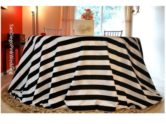 120 Velvet Black And White Velvet Striped Tablecloth