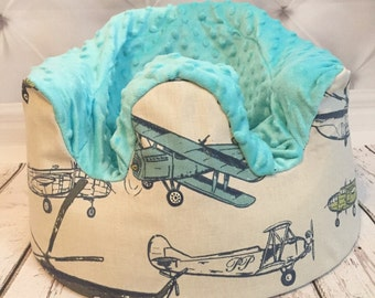 Airplane & Aqua Minky Bumbo Cover