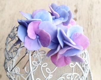 Hydrangea hair pin, flower jewelry, floral jewelry, blue,hydrangea, pin, pins polymer clay, handmade, hair accessories, hair flowers