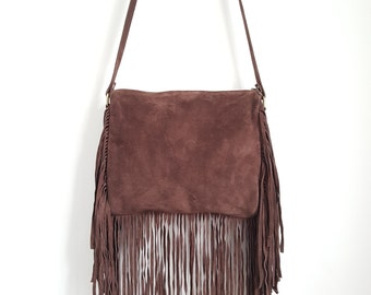 Ladies Crossbody Bag /Tassle Handbag / Black Versatile Fringe Bag/ Suede Bag - Coffee Colour