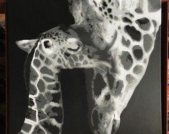 Mother and baby Giraffe - Stencil Art Painting (Original)