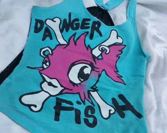 Vintage 90s Punky Fish Racer Back Turquoise Top M