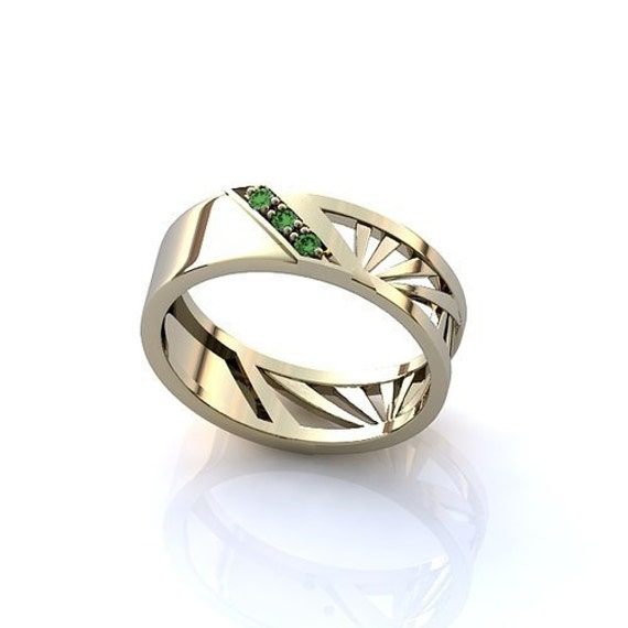 white gold emerald wedding band mens gold band by worldofgold