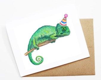 Birthday Card - Chameleon, Animal Birthday, Animal Card, Cute Greeting Card, Kids Birthday Card, Baby Birthday Card, Blank Chameleon Card