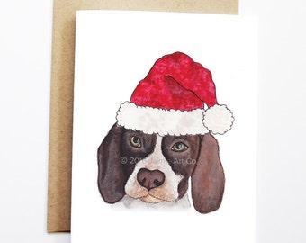 Christmas Card - English Pointer, Dog Christmas Card, Cute Christmas Card, Holiday Card, Xmas Card, Seasonal Card, Christmas Card Set