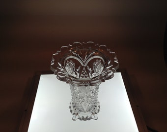 Vintage Cut Glass Vase With Hobnail Nail Pattern From The 1940's