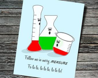 Merry Measure Nerdy Beaker Christmas / Holiday Card | Biology, Chemistry, Physics | Teacher, Scientist, Professor, Student, Engineer