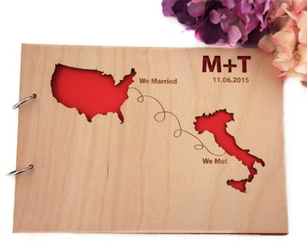 YOUR SIZE Countries UNIQUE Guest Book Custom Wedding guest book wood rustic wedding guest book album bridal shower engagement anniversary-