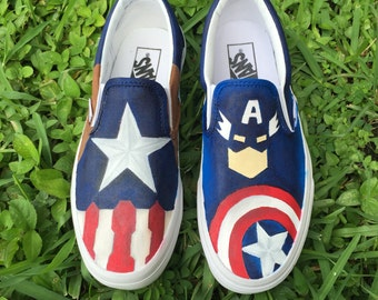 Adult Hand Painted Captain America inspired canvas shoes- made to order!- VANS
