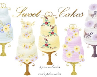 Watercolor Cake Clip Art : Watercolor clipart with glitter instant download. Casino.