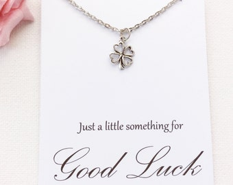 Silver four leaf clover Necklace, good luck gift, bon voyage gift, good luck present, four leaf clover, good luck, goodbye gift, BMCNGLCLO