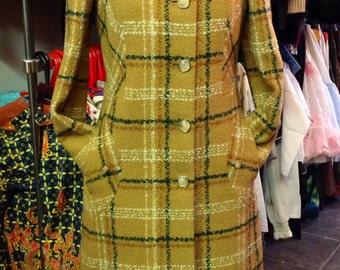 Vintage plaid/tartan mustard coat size 10-12