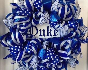 Duke Wreath, Duke Blue Devil Wreath, Duke University Wreath, Duke Basketball Wreath, Duke Football Wreath, Duke Sports Wreath, Sports Wreath