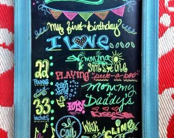 Custom Handmade Baby Birthday Chalkboard
