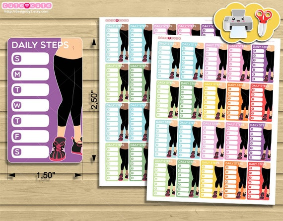 Daily Steps, Printable Planner stickers for Erin condren