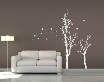 Tree Wall Decal with Flock of Flying Birds | Tree Branches Wall Sticker | Forest Wall Decor