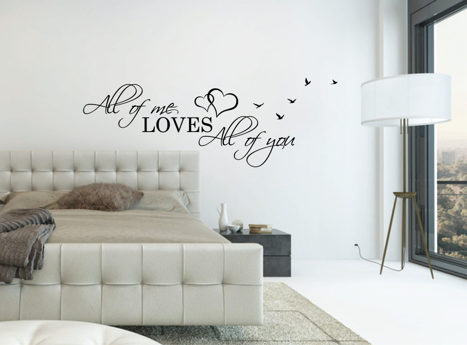 Above bed wall decal quote all of me loves all of you l over - Wall art above bed ...