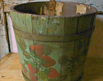 Old Wooden Sap Bucket Tole Painted-Strawberries on Green