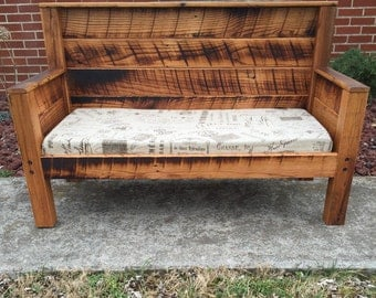 Children's sofa - Barnwood - Kids Bench or couch - Playroom furniture - French mattress cushion - Bench with Cushion