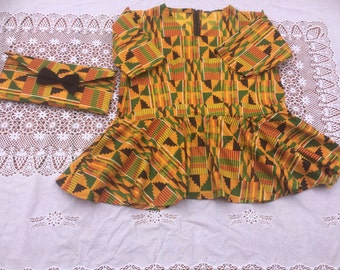 Plus Size African Kente Cloth Blouse and Clutch Bag Set