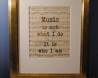 Music Is Not What I Do | 508 | Gold Foil Art Print | Vintage Sheet Music Wall Art | Antique Sheet Music
