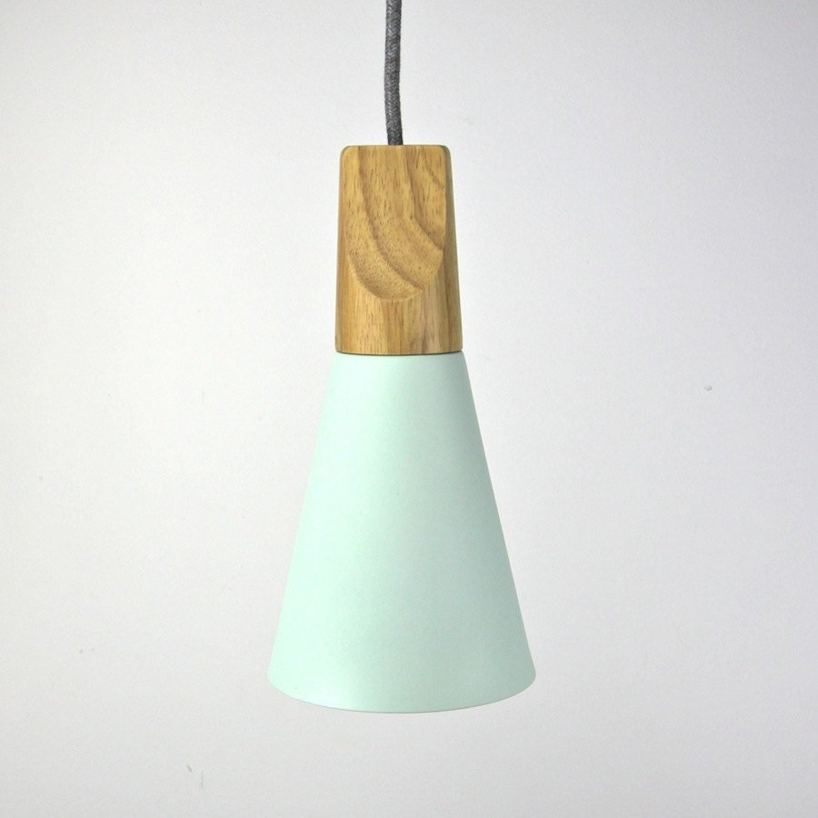 The Scandi Storm Green Wooden Pendant Bedside Table Lamp Cloth