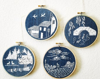 4 pieces of Landscape handmade embroidery hoop art