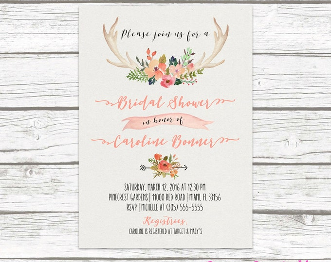 Antler Bridal Shower Invitation, Boho Bridal Shower Invitation, Floral Antler Bridal Shower Invite, Rustic Antler Bridal Shower Printable