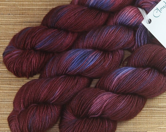 Hand dyed yarn - 50g Cashmere/Silk/Merino, fingering weight (4 ply) in 'Very Berry'