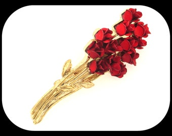 """Vintage Marked  DM 97 Red Rose Flower Bouquet Gold Plated & Enamel BROOCH 2"""""""