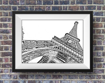 Paris Art ! Eiffel Tower from a great angle