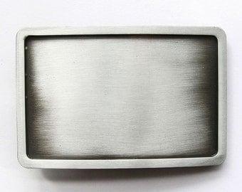 Antique Brushed Silver Rectangle Blank Belt Buckle