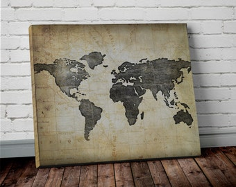 World map wall art etsy brown world map wall art canvas world map print in brown and black sciox Choice Image