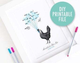 Personalised / Customised Hen Party Print - DIY Printable Vintage Hen Thumbprint Guest Book