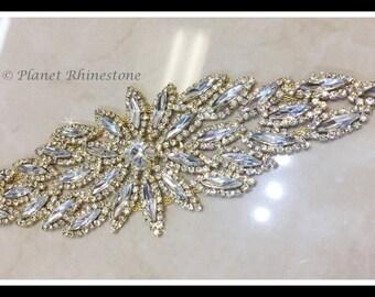 Bridal Sash applique (swarovski shine, silver, Gold) #0118