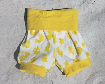 Yellow Cheetah Shorts, Organic, Toddler Shorts, Baby Shorts, Bubble Shorts, cheetah, yellow