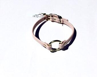 Pink O Ring Choker - Brass Hardware