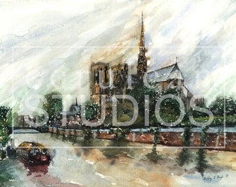 Notre Dame de Paris, Paris artwork, France, Giclee, watercolor print