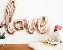 Love Balloon, Script Calligraphy, Engagement Party, Bridal Shower, Wedding, Bachelorette Balloons, Newlywed, I love you, Rose Gold Foil 40""