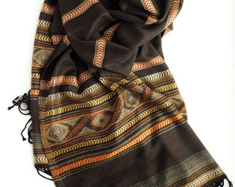 Brown scarf, women's scarf, long scarf, viscose scarf, scarf with ornament, beautiful scarf, scarf stripes, lightweight scarf, stylish scarf