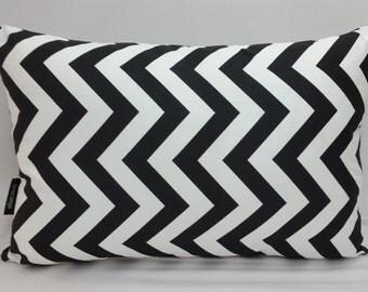 "Zig zag chevron decorative throw pillow 18 x 12"" decorator cotton black and white"