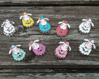 Sheep buttonsScrapbooking buttons, buttons, pretty buttons, 2 hole buttons, wooden buttons, lot buttons, boutons, scrapbook